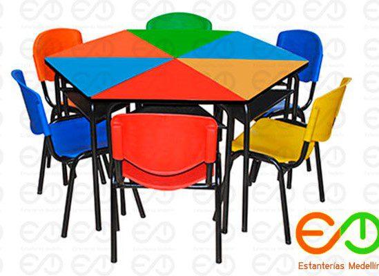 Mesa Hexagonal escolar