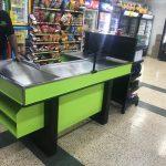Puesto de pago metálico para supermercados